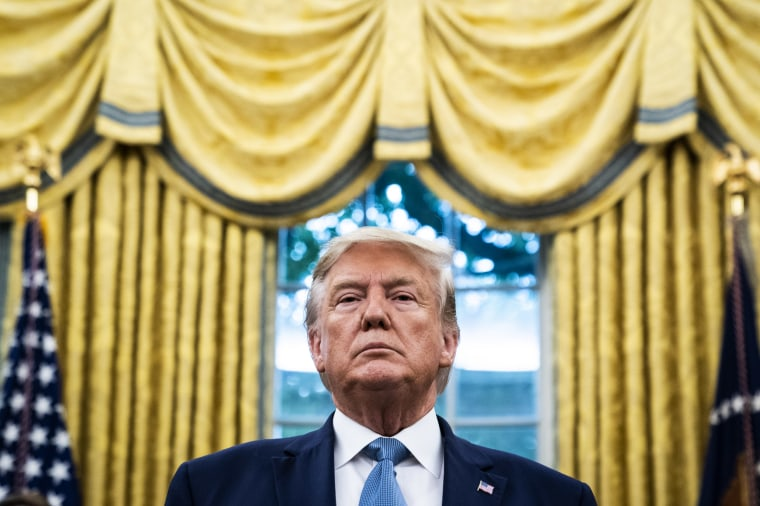 Image: President Donald Trump in the Oval Office on Oct. 8, 2019.