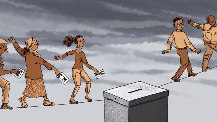 Illustration of Latino voters walking a tightrope to drop their ballots in a ballot box.