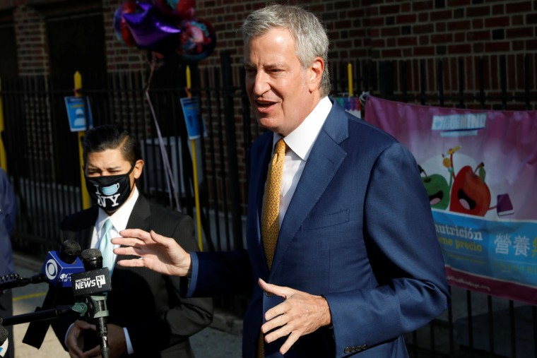 Image: New York City Mayor Bill de Blasio, speaks during a news conference after greeting students for the first day of in-person pre-school following the outbreak of the coronavirus disease (COVID-19) in New York