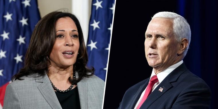 Sen. Kamala Harris, D-Calif., and Vice President Mike Pence.