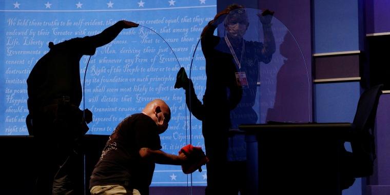 Image: Plexiglass installed onstage for the vice presidential debate in Salt Lake City