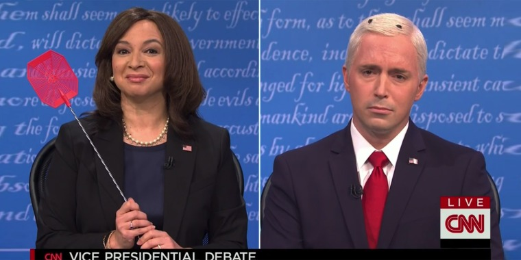 "Maya Rudolph as Kamala Harris and Beck Bennett as Mike Pence perform in the opening of ""Saturday Night Live."""