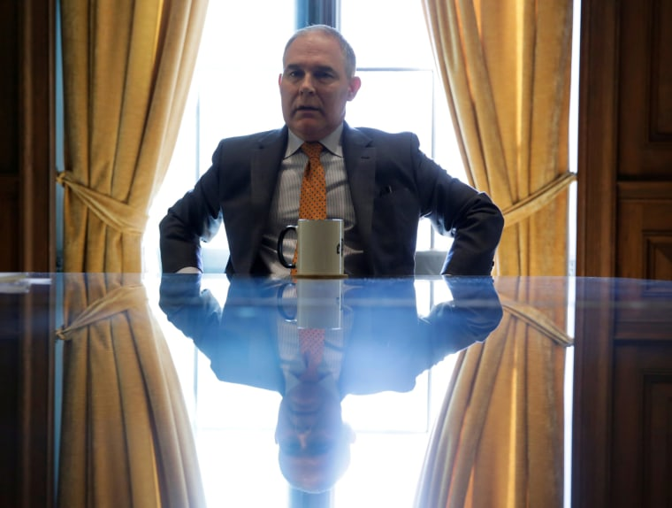 Image: Environmental Protection Agency Administrator Pruitt speaks during an interview in Washington
