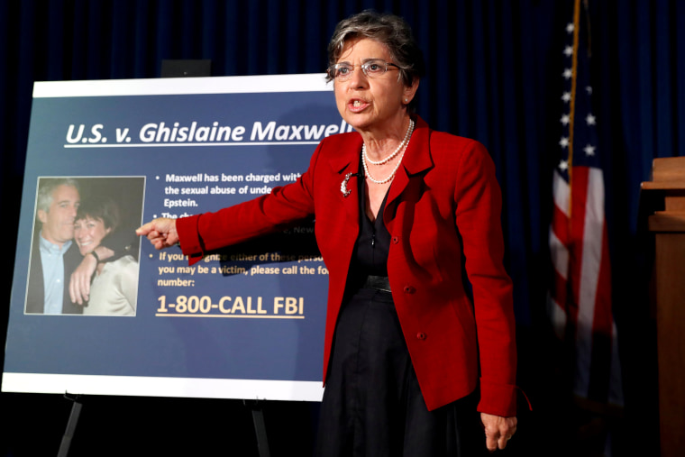 Image: Audrey Strauss, Acting United States Attorney for the Southern District of New York announces charges against Ghislaine Maxwel in New York