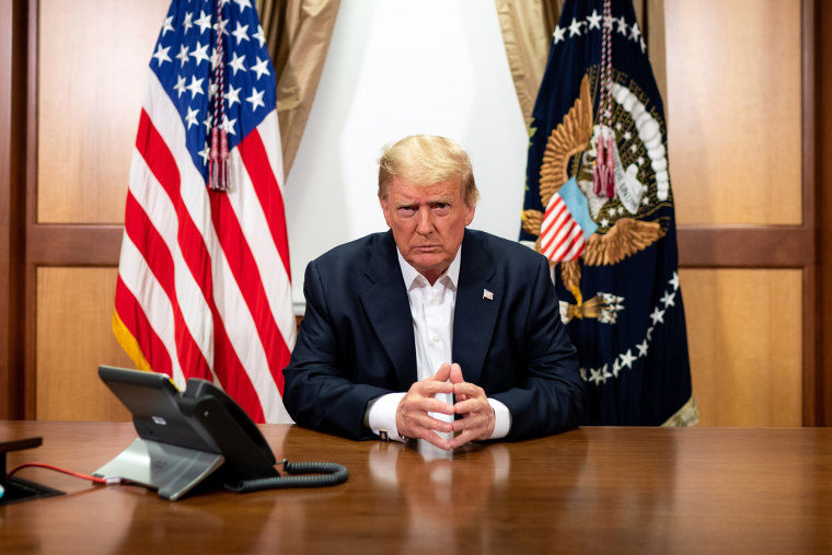 Image:President Donald Trump participates in a phone call with Vice President Mike Pence, Secretary of State Mike Pompeo, and Chairman of the Joint Chiefs of Staff Gen. Mark Milley in his conference room at Walter Reed National Military Medical Center