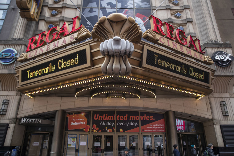 Image: A Regal Cinema remains closed in New York City.