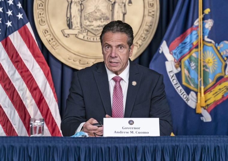 New York State Governor Andrew Cuomo holds daily media