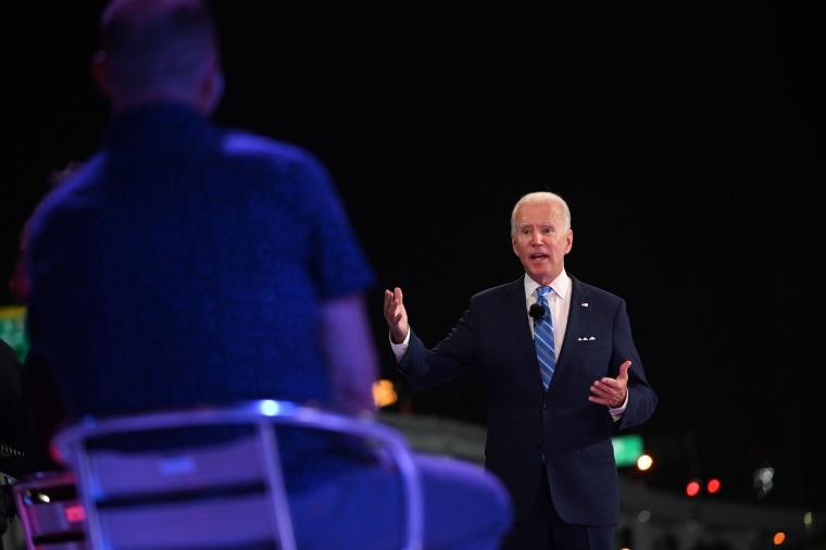 Image: Democratic presidential nominee Joe Biden participates in an NBC Town Hall event at the Perez Art Museum in Miami