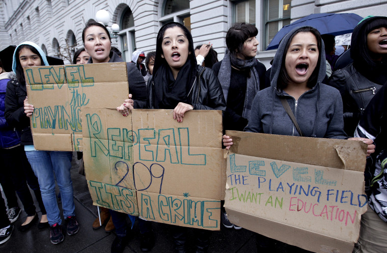 Demonstrators protested in San Francisco in 2012 as federal judges heard arguments in a lawsuit seeking to overturn Proposition 209, which barred racial, ethnic or gender preferences in public education, employment and contracting.