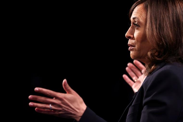 Image: Kamala Harris speaks during a debate against Vice President Mike Pence in Salt Lake City on Oct. 7, 2020.