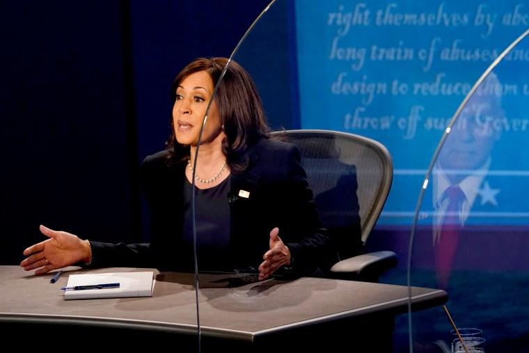 Image: Mike Pence And Kamala Harris Take Part In Vice Presidential Debate