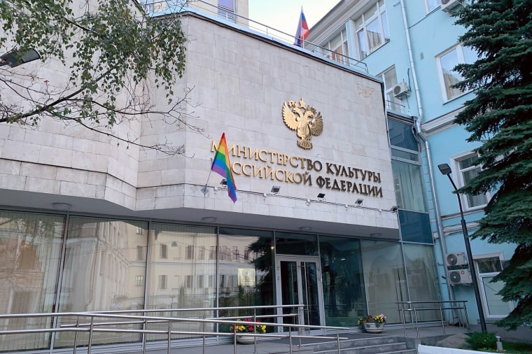 A rainbow flag erected on the Culture Ministry building in Moscow on Oct. 7, 2020. LGBTQ flags were also placed on the Presidential Administration of Russia , Federal Security Service (FSB), district police and Supreme Court buildings on Russian President Vladimir Putin's 68th birthday.