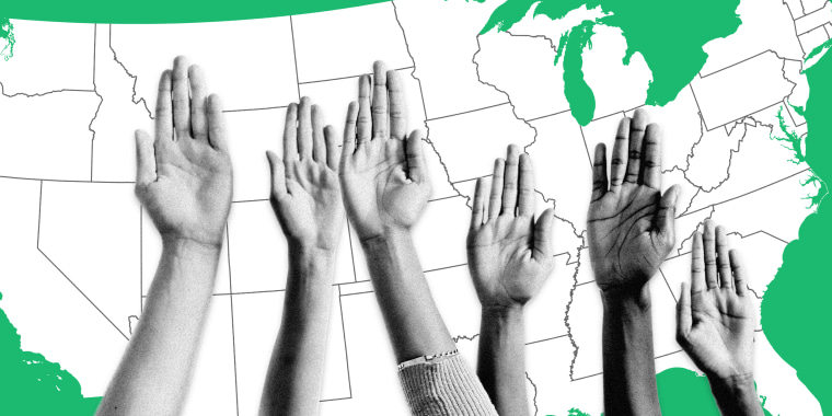 Image: Diverse raised hands against a green United States map.