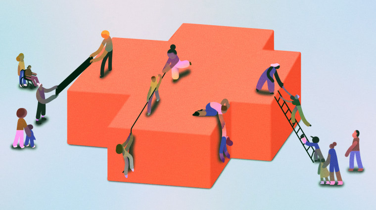Illustration of people of color trying to climb a three-dimensional hospital cross.