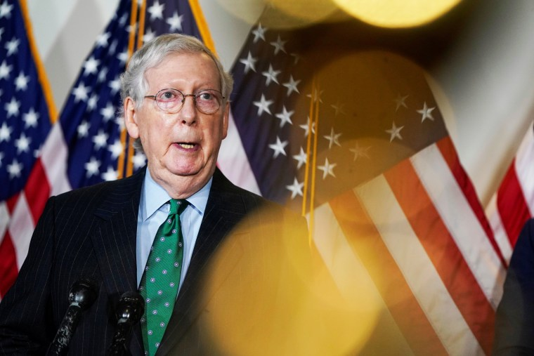 Image: Senate Majority Leader Mitch McConnell (R-KY) speaks to journalists in Washington