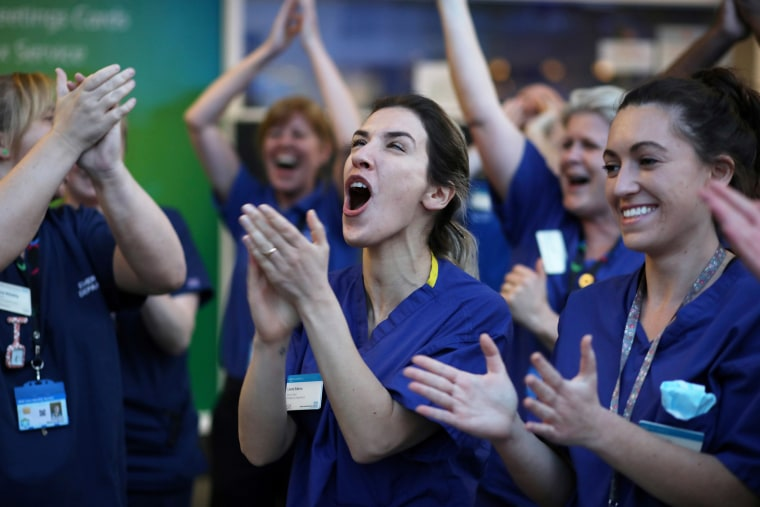 Image: NHS workers applaud outside Chelsea and Westminster Hospital during the Clap for our Carers campaign in support of the NHS, London