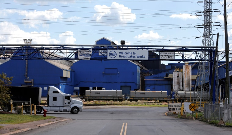 Image: FILE PHOTO: Entrance to the U.S. Steel Great Lakes Works plant is seen in Ecorse, Michigan