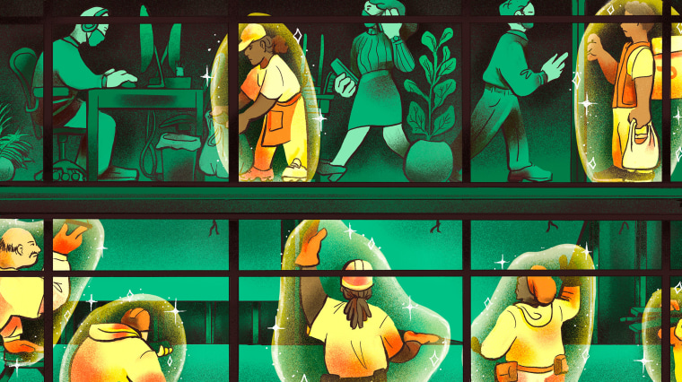 Illustration of workers inside an office building, certain people are highlighted in yellow with a protective bubble surrounding them.