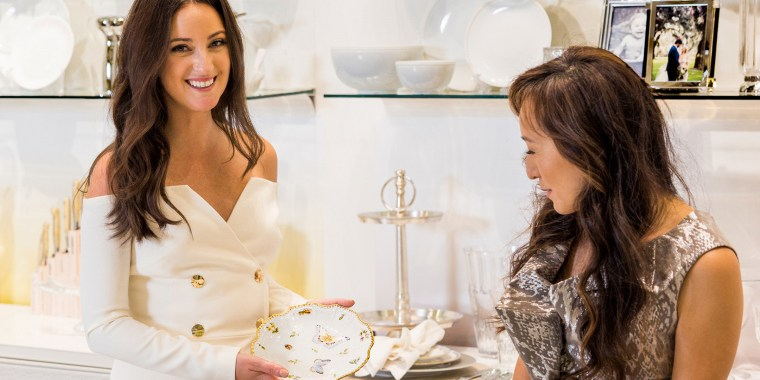 Micaela Erlanger (left) and Jung Lee are pairing their talents to create four suggested wedding registries.