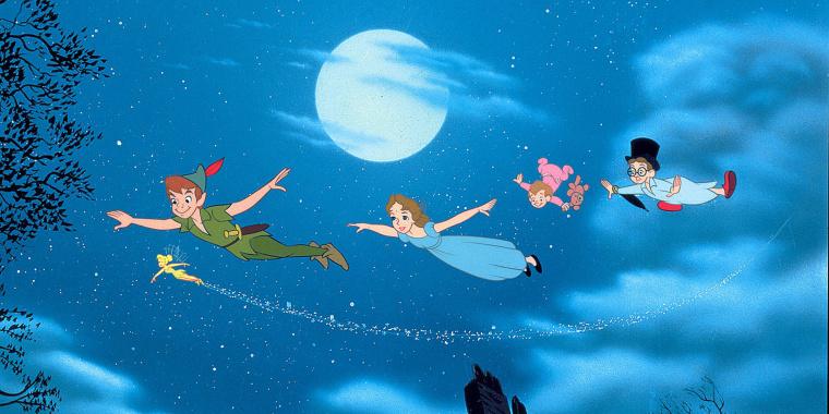 "Tinkerbell, Peter Pan, Wendy, Michael & John from the classic 1953 film ""Peter Pan."""