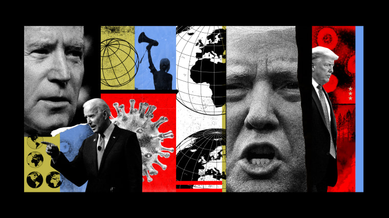 Image: A collage of Donald Trump and Joe Biden with Covid spores, world maps and protest images.