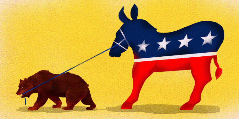 Image: A California bear pulls on the Democratic Donkey to move left