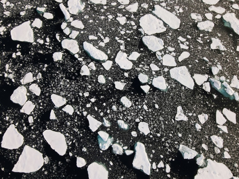 Image: An aerial view of floating ice taken by a drone launched from Greenpeace's Arctic Sunrise ship in the Arctic Ocean