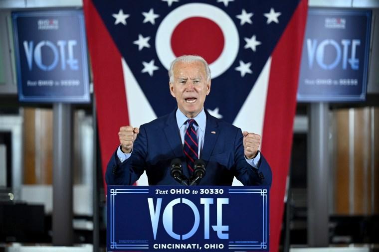 Image: Democratic Presidential candidate Joe Biden delivers remarks at a voter mobilization event in Cincinnati