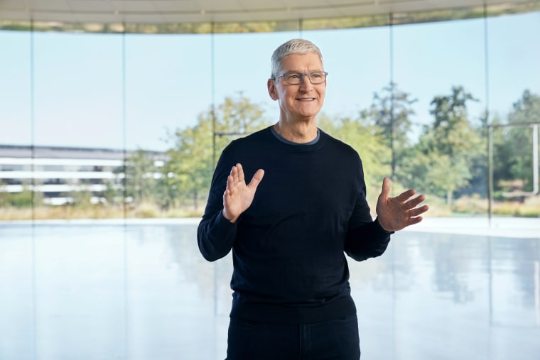Image: Apple CEO Tim Cook speaks at a special event at Apple Park in Cupertino