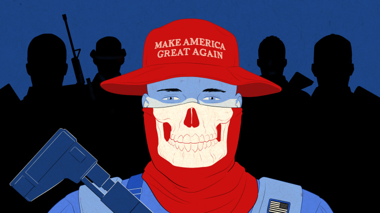 """Image: A milita fighter wearing a \""""Make America Great Again\"""" red bucket hat and red skull gaiter holds a gun while backed by shadow militia figures."""