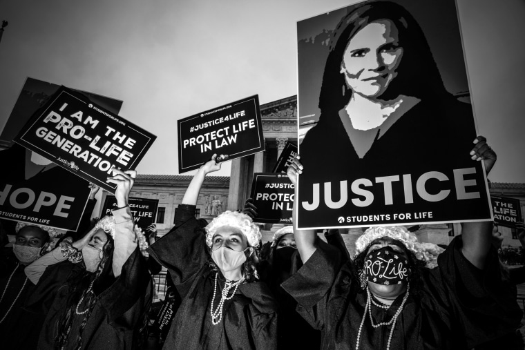 Image: Supporters of Judge Amy Coney Barrett gather outside of the Supreme Court as Senate confirmation hearings on her nomination began on Oct. 12, 2020.