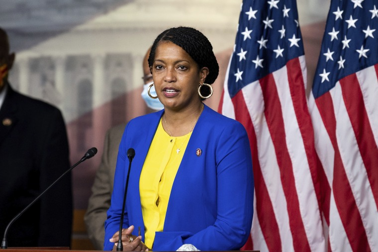 Image: U.S. Representative Jahana Hayes (D-CT) speaking at a press conference of the Congressional Black Caucus.