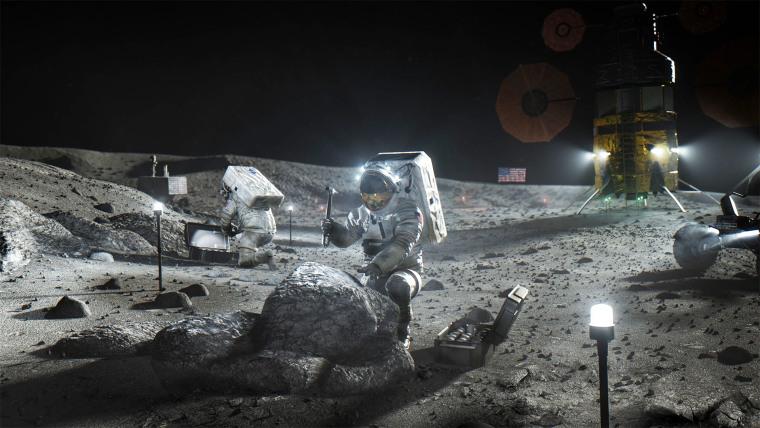 An illustration of Artemis astronauts on the moon.