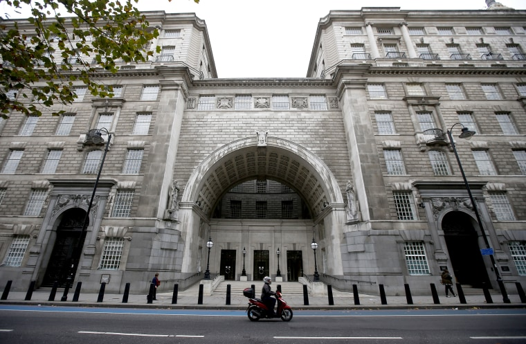Thames House, the headquarters of the British Security Service (MI5) is seen in London