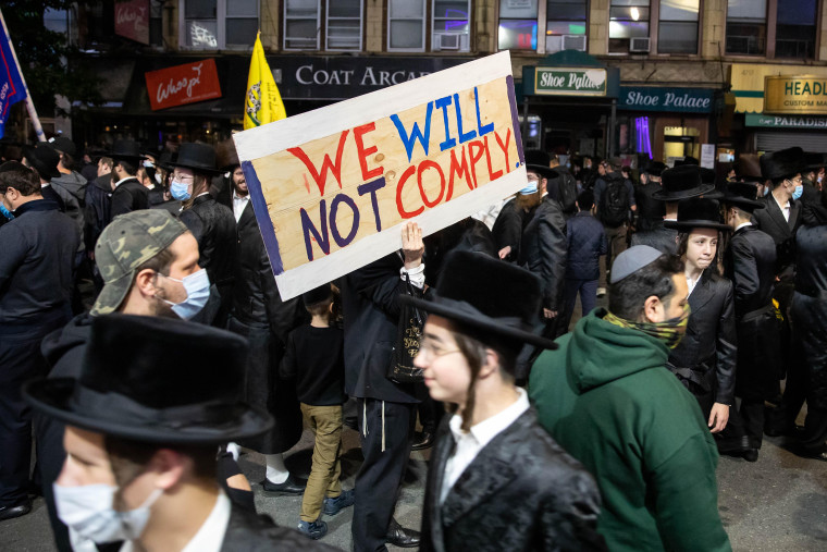 Image: COVID-19 Hotspot Protest in Borough Park, Brooklyn, NYC