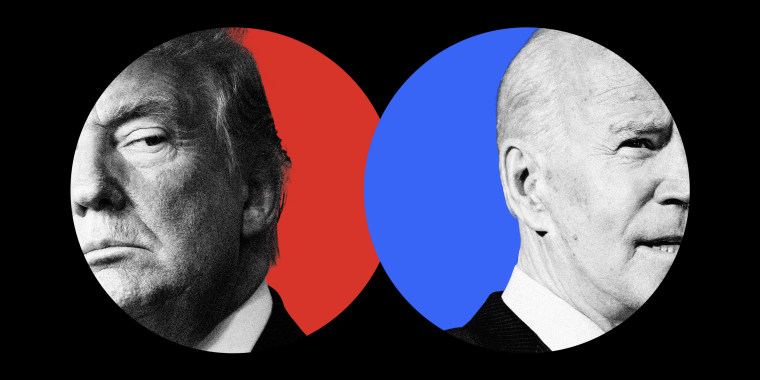 Image: close up of Donald Trump and Joe Biden in red and blue circles, respectively.