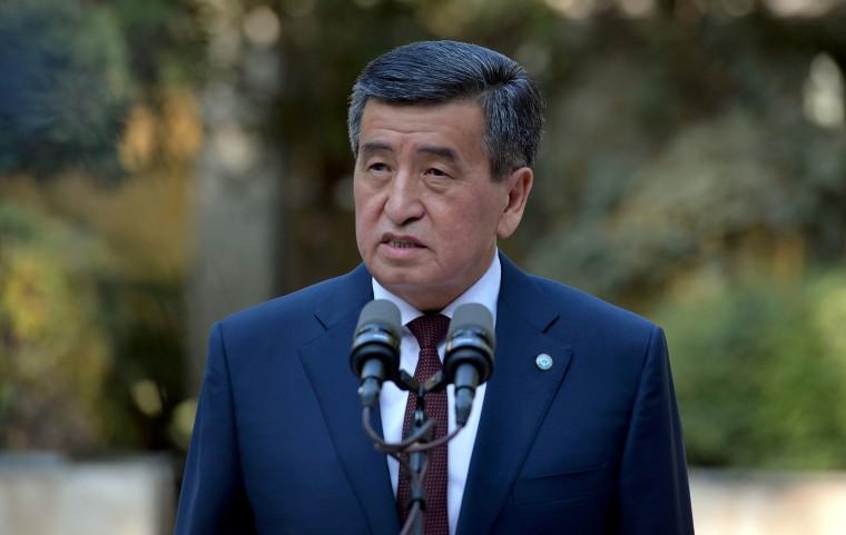 Image: Kyrgyzstan's President Sooronbai Jeenbekov speaks after a vote at a parliamentary elections in Bishkek