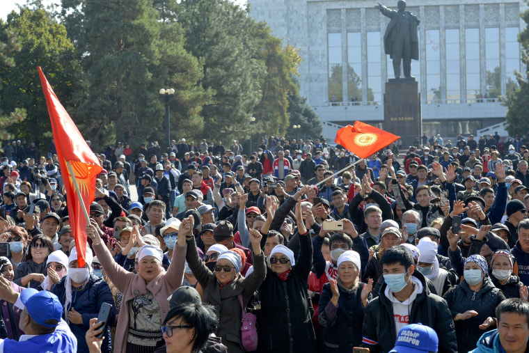 Image: Protesters took to the streets in Kyrgyzstan to dispute
