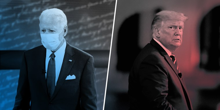 Joe Biden participates at an ABC Town Hall event at the National Constitution Center in Philadelphia, as President Donald Trump participates in an NBC News town hall forum with a group of Florida voters in Miami on Oct. 15, 2020.