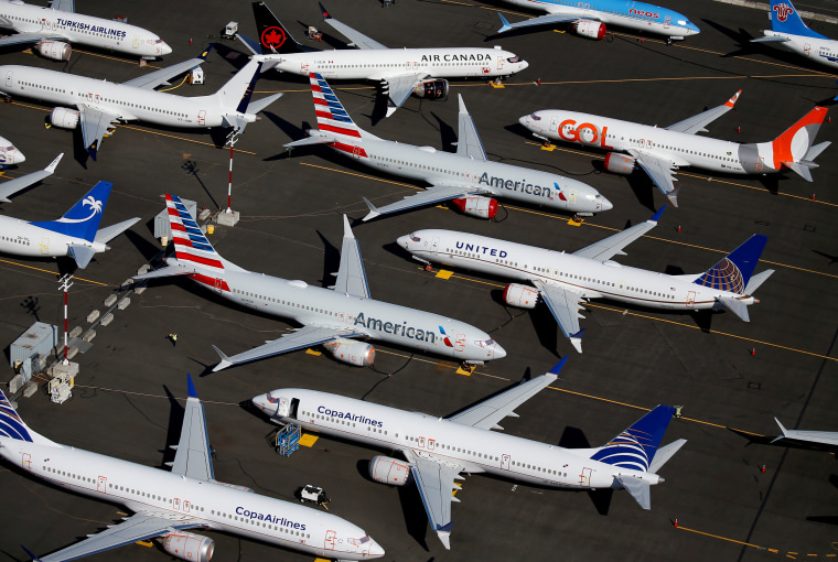Image: FILE PHOTO: FILE PHOTO: Grounded Boeing 737 MAX aircraft are seen parked at Boeing Field in Seattle