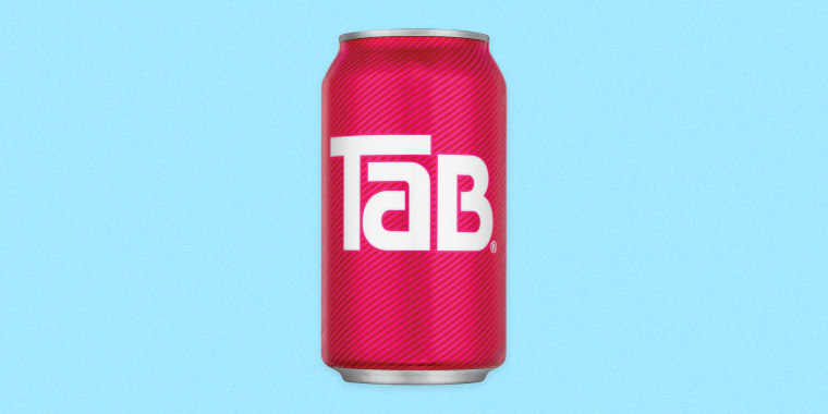Image: A can of Tab soda on a blue background.