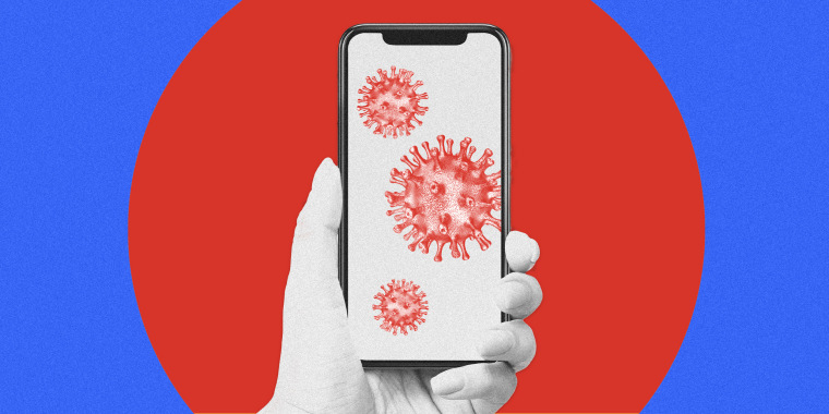 Image: A phone with coronavirus spores inside a red circle on a blue background.
