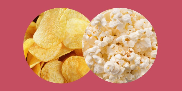 Swapping three large handfuls of potato chips for the same serving of air-popped popcorn will save you more than 300 calories.