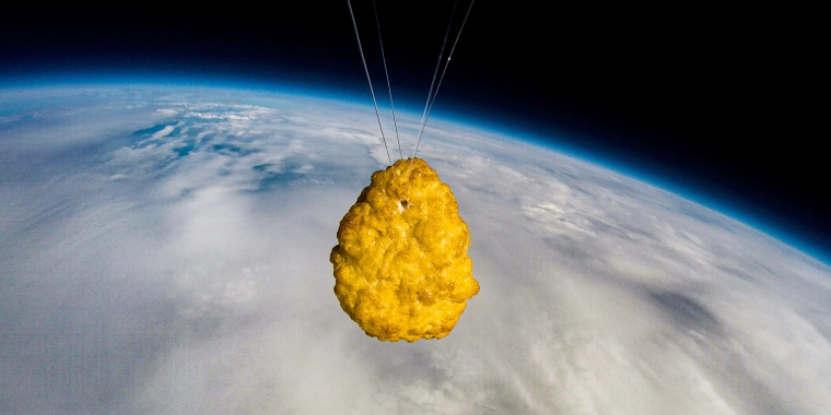 The humble chicken nugget took quite an extraordinary journey, traveling through the Earth's atmosphere to an altitude of 110,000 feet (about 21 miles), where it then floated into Near Space.
