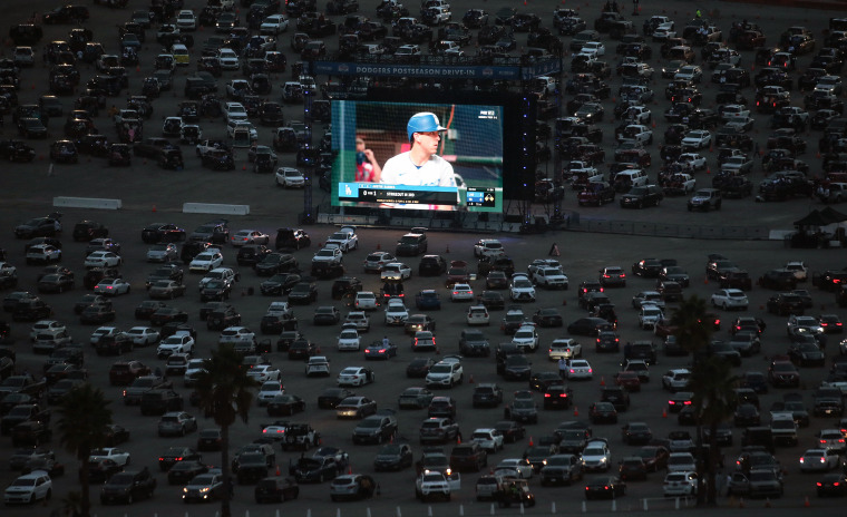 Baseball Fans Watch The World Series Outside Dodgers Stadium