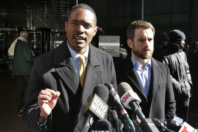 Image: New York City Council Member Ritchie Torres, left, and Housing Rights Initiative Executive Director Aaron Carr address a news conference outside Kushner Companies headquarters, in New York