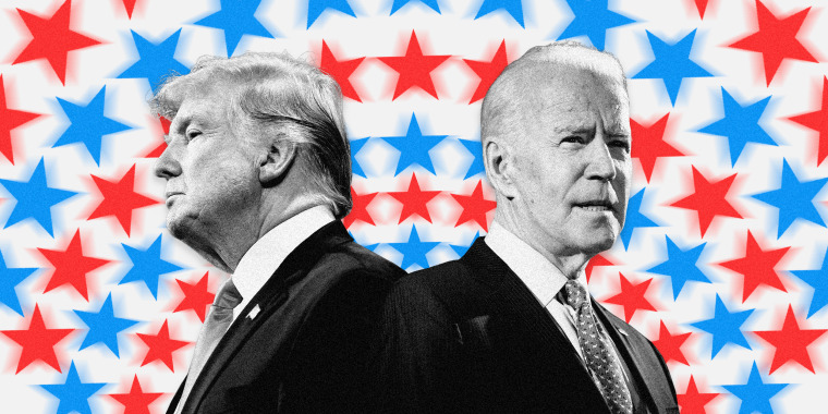 Image: President Donald Trump and Joe Biden on a background of concentric circles made up of blue and red stars.