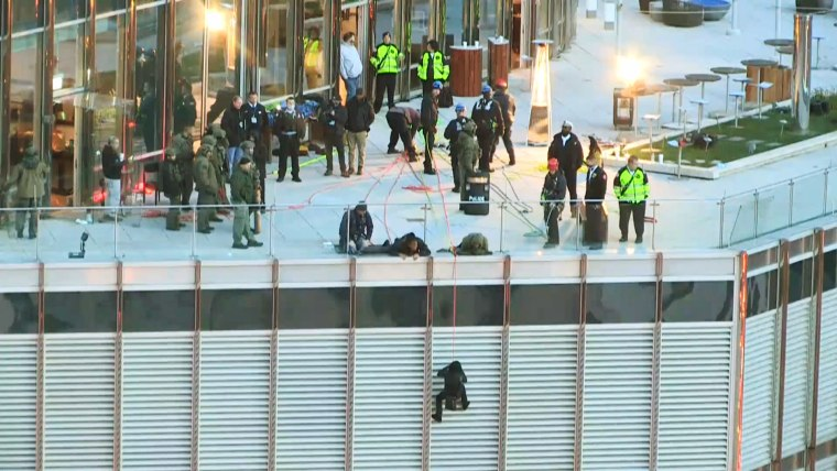 A man was taken into custody early on Oct. 19, 2020, after hanging off the side of Trump Tower from a rope for 13 hours, demanding to speak to President Donald Trump.