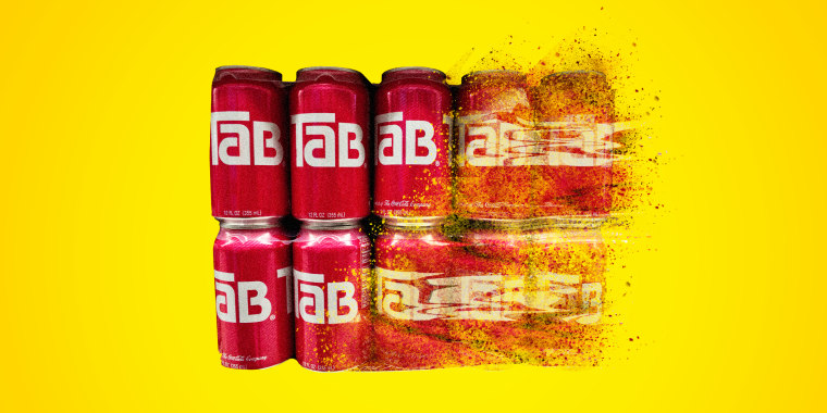 Image: rows of Tab soda disappearing into nothing.