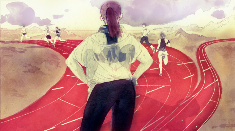 Image: A sweaty woman looks at runners taking the left path on a red track, while the track next to her is empty.